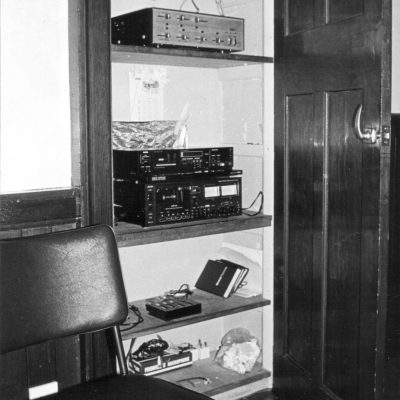 The sound and recording cupboard in the original (extended) building