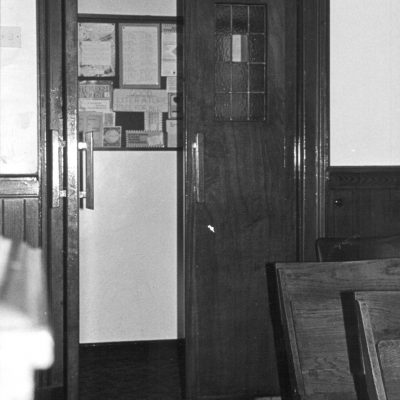The rear door of the main building, leading to the vestibule