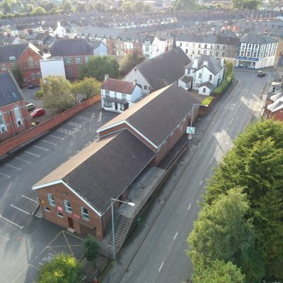 Overhead view of new Church Halls