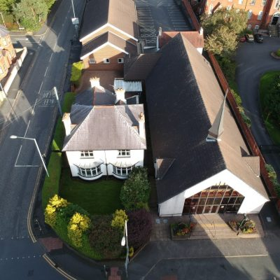 Overhead view of new Church Building, Manse and Halls